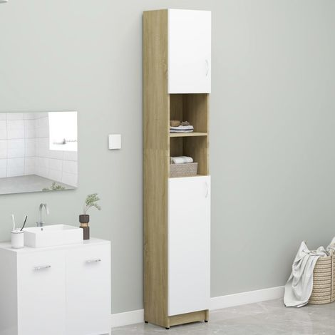 Bathroom Cabinet White and Sonoma Oak 32x25.5x190 cm Chipboard