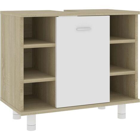 Bathroom Cabinet White and Sonoma Oak 60x32x53.5 cm Chipboard