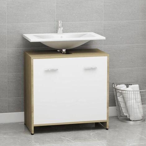 Bathroom Cabinet White and Sonoma Oak 60x33x58 cm Chipboard