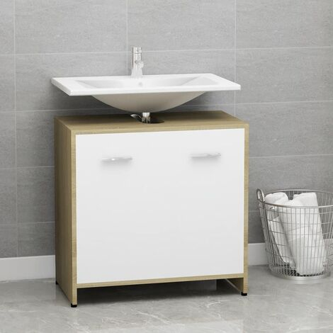 Bathroom Cabinet White and Sonoma Oak 60x33x58 cm Chipboard