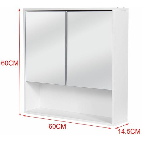 Bathroom Cabinet with 2 Locking Doors with Mirror 3 Shelves Storage Cabinet Wall-Mounted Bathroom Cabinet LAVENTE