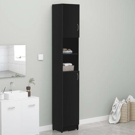 Bathroom CabinetBlack 32x25.5x190 cm Chipboard