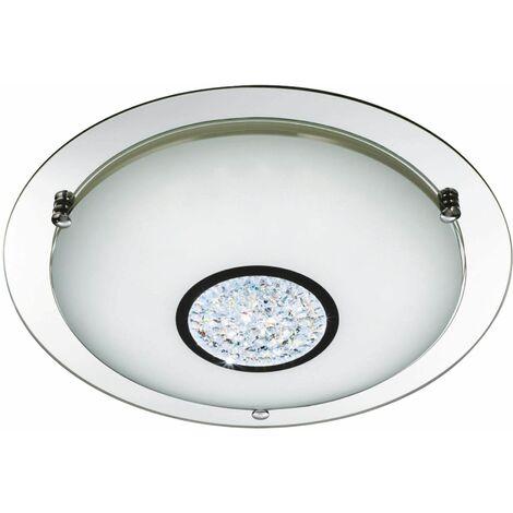 Bathroom ceiling light ip44 led 42cm chrome mirror halo