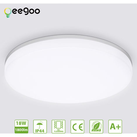 Bathroom Ceiling Light, Oeegoo 18W 1800LM LED Ceiling Light, Waterproof IP44 Ceiling Light Fitting and Flush Ceiling Lights for Living Room Bathroom Kitchen Bedroom Balcony, Natural White 4000K, ?28cm