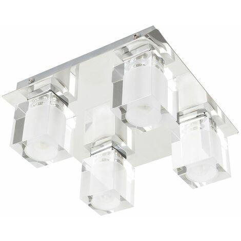 Bathroom Ceiling Light Sleek 4 Way Metal Glass Cubes