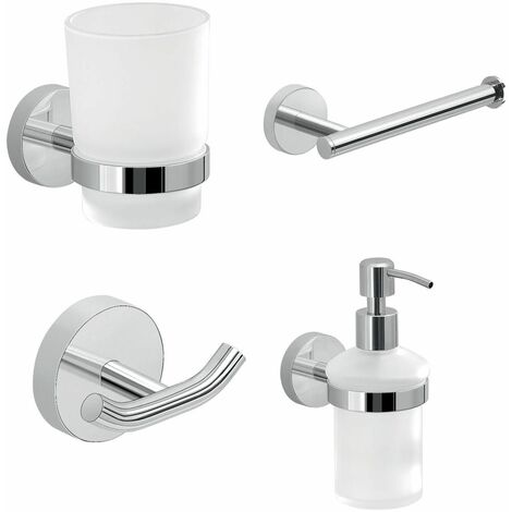 Bathroom Chrome 4 Piece Accessory Set Frosted Glass Wall Mounted Soap Dispenser