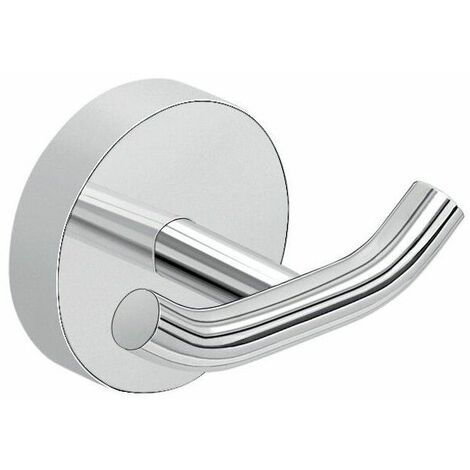 Bathroom Chrome Double Robe Hook Holder Round Wall Mounted Stylish Modern