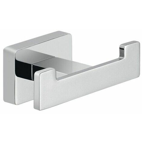 Bathroom Chrome Double Robe Hook Holder Square Wall Mounted Stylish Modern