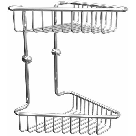 Bathroom Chrome Rust Free Corner Two Tier Shower Caddy Easy Clean Wire
