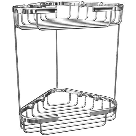 Bathroom Chrome Rust Free Corner Two Tier Shower Caddy Wire Easy Clean
