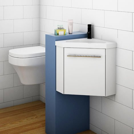 Bathroom Cloakroom Corner Vanity Unit Basin Sink Small Wall Hung Sink Cabinet White Grey
