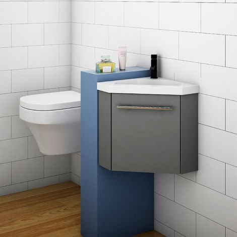 Bathroom Cloakroom Corner Vanity Unit Basin Sink Small Wall Hung Sink Cabinet White Grey