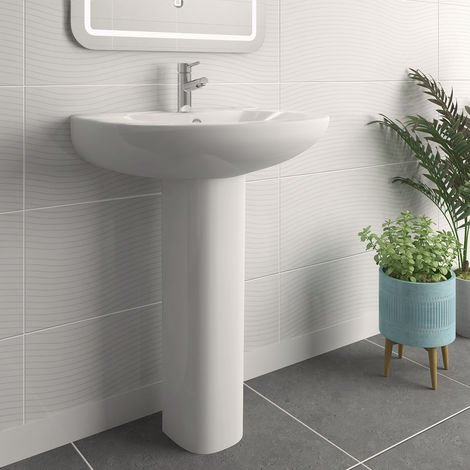 Bathroom Cloakroom Full Pedestal 540mm Basin Compact Single Tap Hole Sink