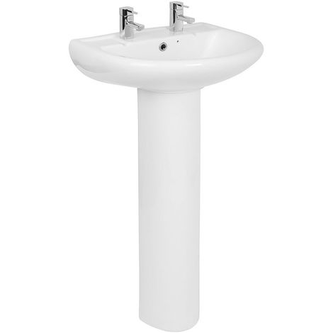 Bathroom Cloakroom Full Pedestal 550mm Basin Compact Double Tap Hole Sink