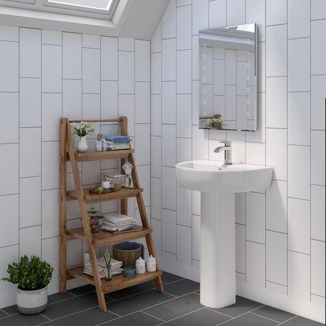 Bathroom Cloakroom Full Pedestal 550mm Basin Compact Single Tap Hole Sink