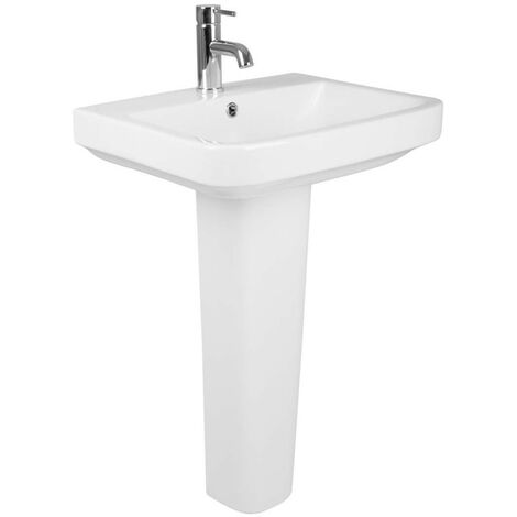 Bathroom Cloakroom Full Pedestal 555mm Basin Compact Single Tap Hole Sink