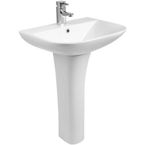 Bathroom Cloakroom Full Pedestal 560mm Basin Compact Single Tap Hole Sink Washstand