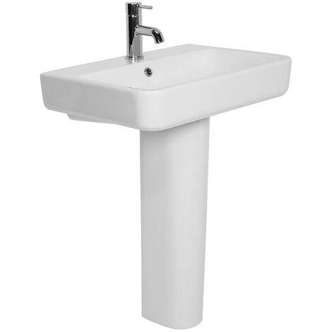 Bathroom Cloakroom Full Pedestal 600mm Basin Compact Single Tap Hole Sink