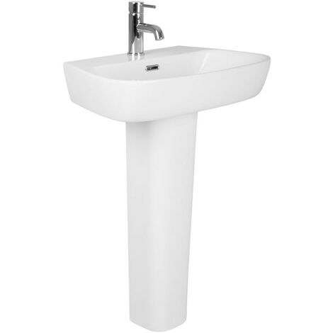 Bathroom Cloakroom Full Pedestal 610mm Basin Compact Single Tap Hole Sink
