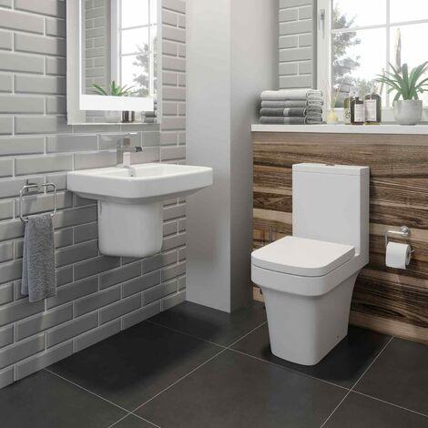 Bathroom Cloakroom Suite Close Coupled Toilet Semi Pedestal Basin