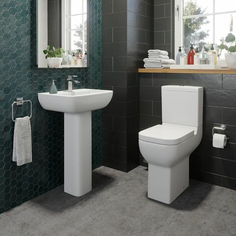 Bathroom Cloakroom Suite Comfort Height Toilet WC & Basin Sink Full Pedestal Set
