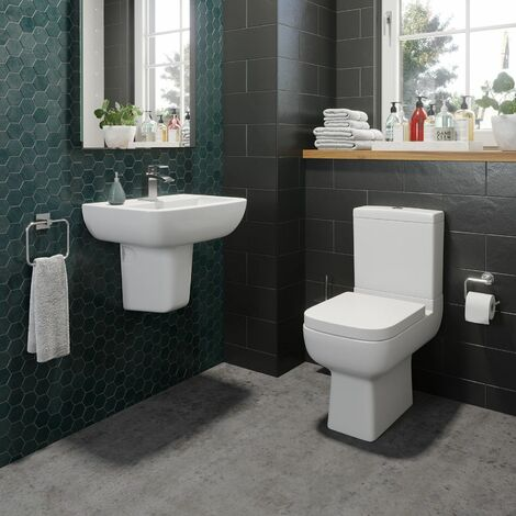 Bathroom Cloakroom Suite Toilet Close Coupled Basin Semi Pedestal
