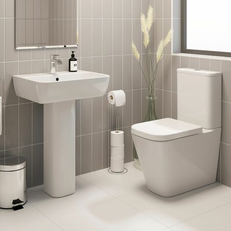 Bathroom Cloakroom Suite Toilet WC Basin Full Pedestal Modern White Gloss