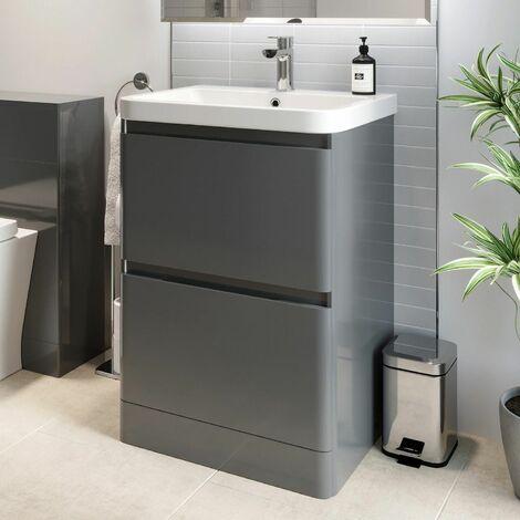 Bathroom Cloakroom Vanity Unit Wash 600 Basin Base Cabinet Drawers Storage Grey
