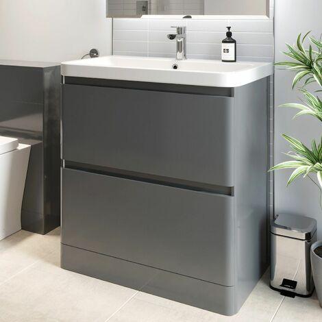 Bathroom Cloakroom Vanity Unit Wash 800 Basin Base Cabinet Drawers Storage Grey