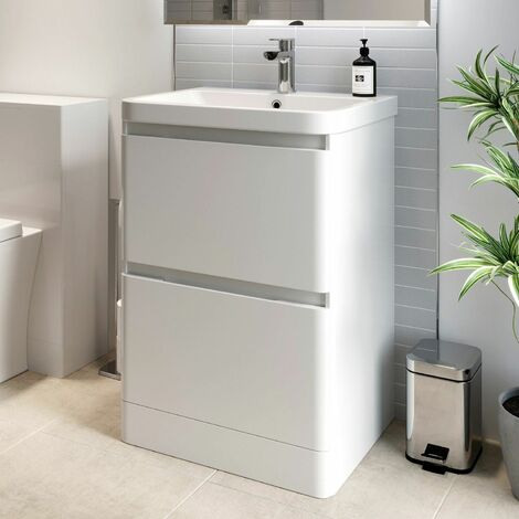 Bathroom Cloakroom Vanity Unit Wash Basin Base Cabinet Two Drawers Storage White
