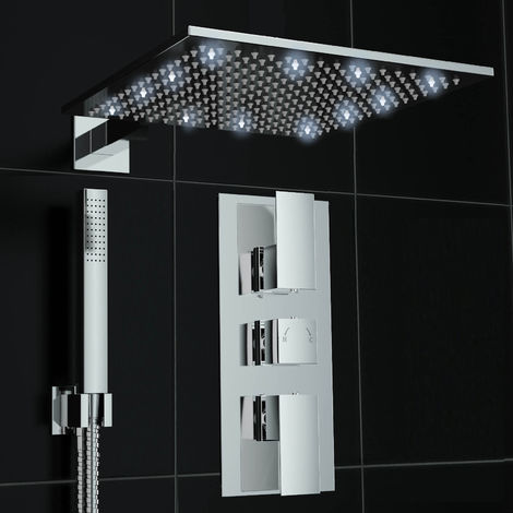 Bathroom Concealed Square Lever Thermostatic Mixer Shower Valve Led Chrome 300mm