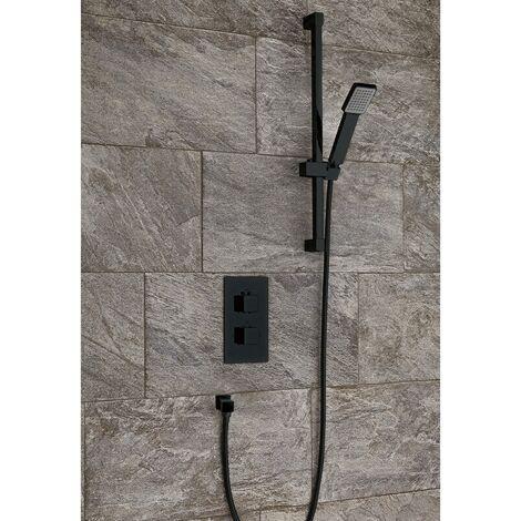Bathroom Concealed Thermostatic Shower Black Finish Adjustable Head Handset