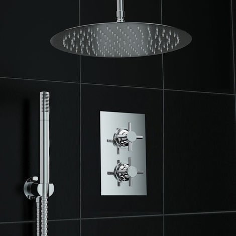Bathroom Concealed Thermostatic Shower Cross Ceiling Set 300mm