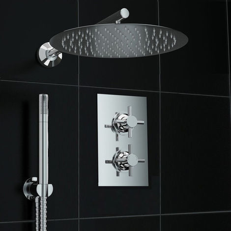 Bathroom Concealed Thermostatic Shower Cross Shower Set 300mm