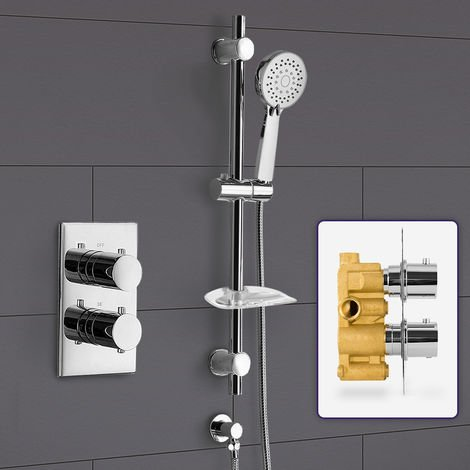 Bathroom Concealed Thermostatic Shower Mixer & Slider Rail 3 Mode Handset Shower