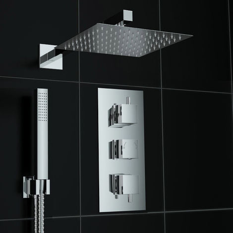 Bathroom Concealed Thermostatic Square Mixer Shower Valve Set