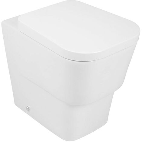 Bathroom Contemporary Back to Wall Toilet Pan with Soft Close Seat