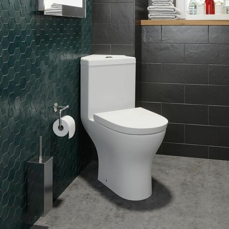 Bathroom Corner Toilet Close Coupled Space Saving Soft Close Seat
