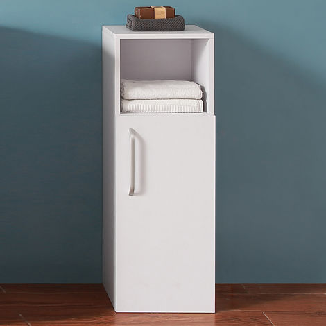 Bathroom Cupboard Storage Unit 1 Door Bath Cupboard 3 Shelf - White