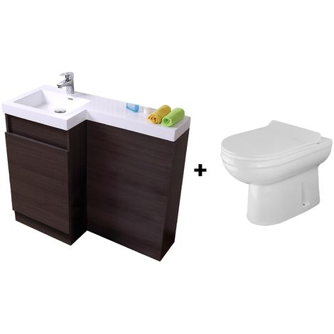 Bathroom Dark Oak Basin Vanity Unit 1000mm Left Hand - Eslo Back To Wall Toilet