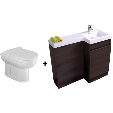 Bathroom Dark Oak Basin Vanity Unit 1000mm Right Hand - Eslo Back To Wall Toilet