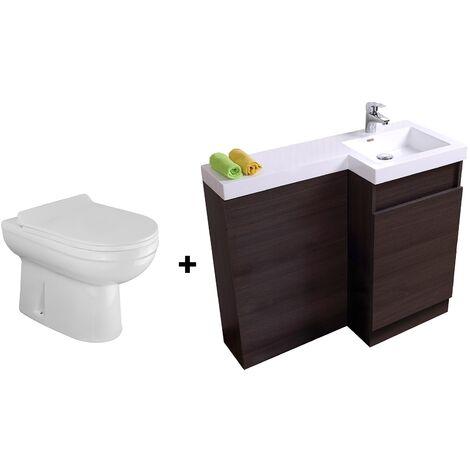 Bathroom Dark Oak Basin Vanity Unit 1000mm Right Hand - Eslo Back To Wall Toilet