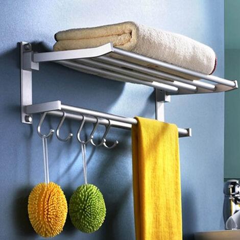 Bathroom Double Alumiu Towel Rail Holder Wall Mounted Hooks Storage Rack Shelf