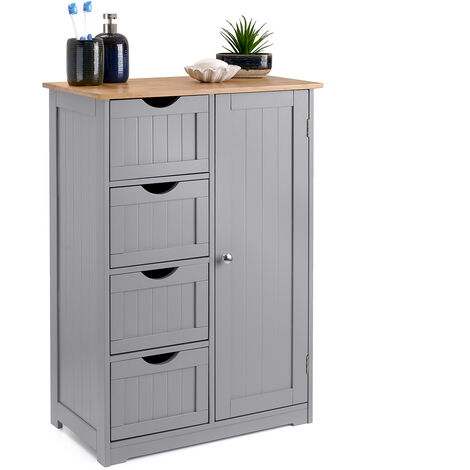 Bathroom Drawer Cabinet Grey Bamboo Freestanding Storage Unit 4 Drawers Christow