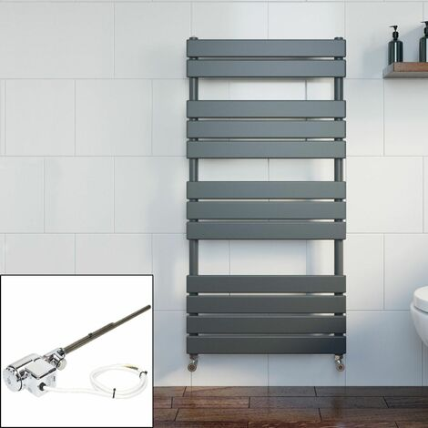 Bathroom Dual Fuel Flat Panel Heated Towel Rail 1200x600 Thermostatic Anthracite