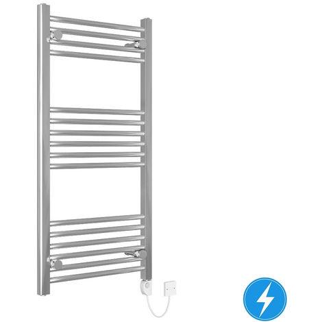 Bathroom Electric Heated Towel Rail 1000 x 500 Straight Thermostatic 200W Chrome