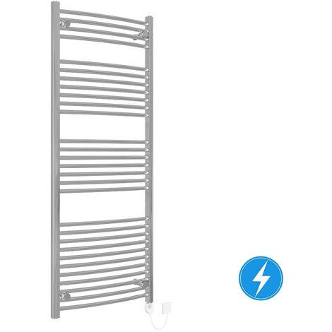 Bathroom Electric Heated Towel Rail 1500 x 600 Curved Thermostatic 600W Chrome