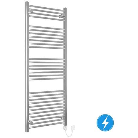 Bathroom Electric Heated Towel Rail 1500 x 600 Straight Thermostatic 600W Chrome