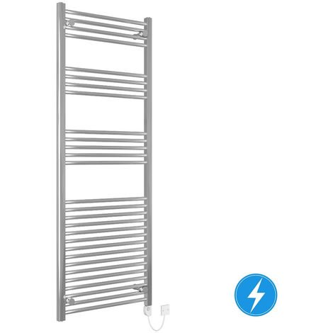 Bathroom Electric Heated Towel Rail 1600 x 600 Straight Thermostatic 700W Chrome