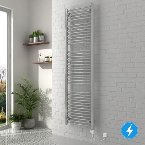 """main image of """"Bathroom Electric Heated Towel Rail 1800 x 500 Curved Thermostatic 800W Chrome"""""""